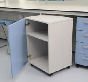Klick Technology mobile laboratory furniture with blue door