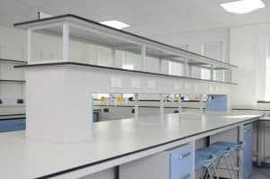Laboratory furniture with reagent shelving for a clutter free work space