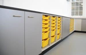 Royal Ballet School science lab with yellow trays G