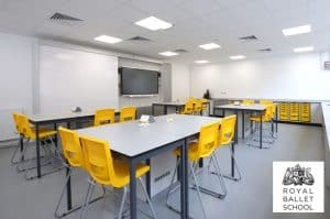 Royal Ballet School science laboratory with contrast yellow stools and trays
