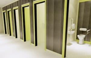 School toilet cubicles lime