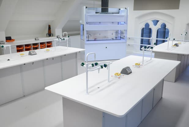 Science laboratory furniture and 360 degree fume cupboard at Tonbridge School, Kent
