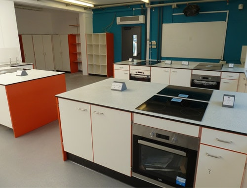 The Lakes School food tech classroom with teacher's demonstration bench