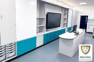 West Kirby School teaching wall with turquiose contrast doors and modular storage