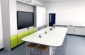 West Kirby Science lab E with teaching wall