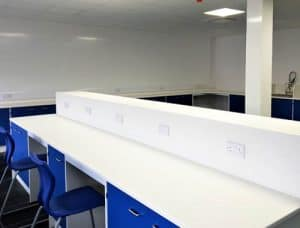Pathology lab design - Velstone worktop with raised divider & power outlets