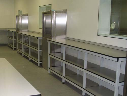 Trespa shelving for clean room furniture installation at pharmaceutical lab