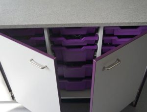 Chemistry Lab Feature - Contrast purple trays and door edging