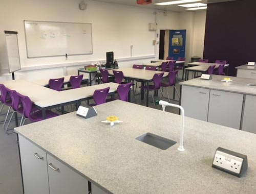 Chemistry lab design - Practical area with gas electrical & water services