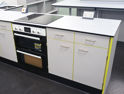 Food Technology Classroom Design for Special Needs School with Trespa worktops, white doors & contrast lime edge