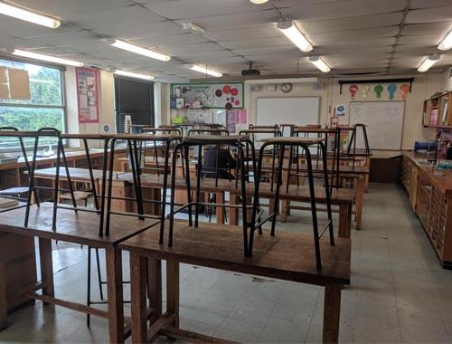 Leasowes School science lab before refurbishment
