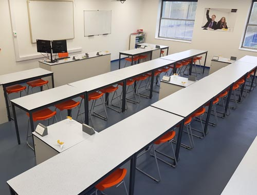 Leasowes School science laboratory refurbishment with contrast orange stools