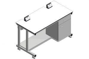 Mobile laboratory benches with cupboard, shelf and electrical outlets