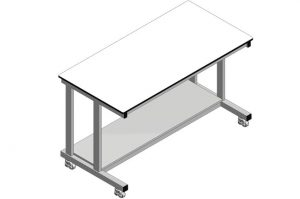 Mobile laboratory table with lower shelf