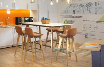 Breakout space design with high stools