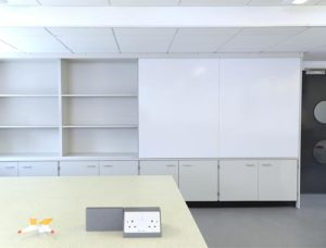 School science laboratory refurbishment with teachers wall