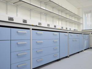 Design of lab furniture for University of Kent - Trespa shelving & mobile cabinets