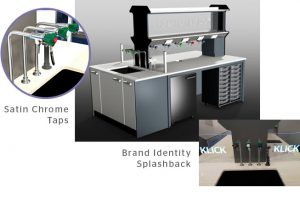 Lab Furniture Design with Satin Chrome Taps & Brand Identity Splashback