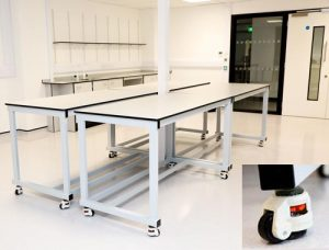 Lab furniture for research laboratory with detail of castor