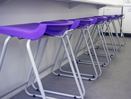 School science laboratory design with contrast purple stools - Sale Grammar