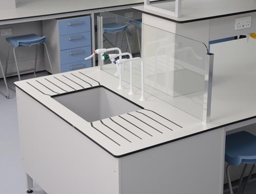 Specialist Laboratory Design - Trespa worktop & glass splashback