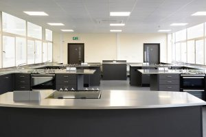 Food Technology classroom design with stainless steel worktops