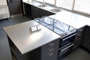 Food Technology room design with stainless steel worktops