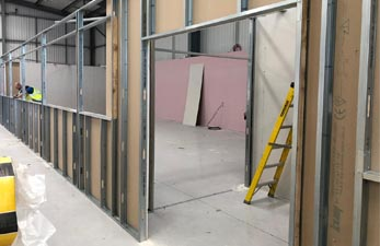 Partitioning used to construct a new lab space