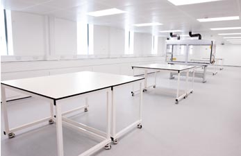 Mobile lab tables arranged in pairs