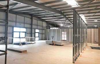 Lab fit out showing new mezzanine floor
